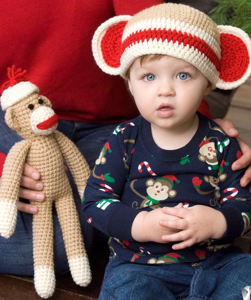 Sock Monkey and Baby Hat free crochet pattern by Red Heart yarns.  #crochet