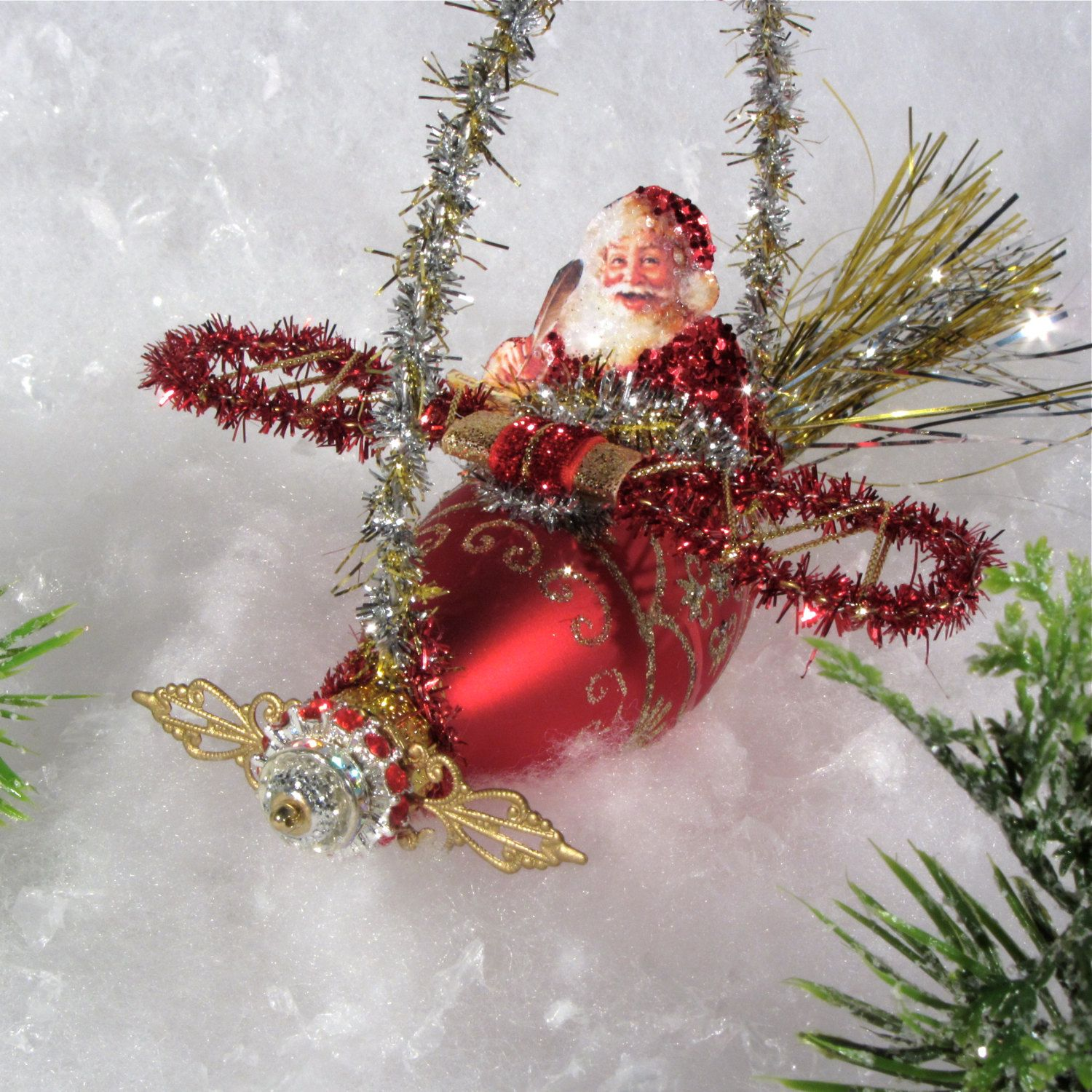 Brand new handmade christmas ornament santa in by sparkledeluxe