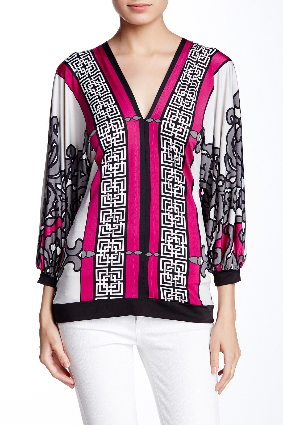 Printed V-Neck Blouse by Analili on @HauteLook