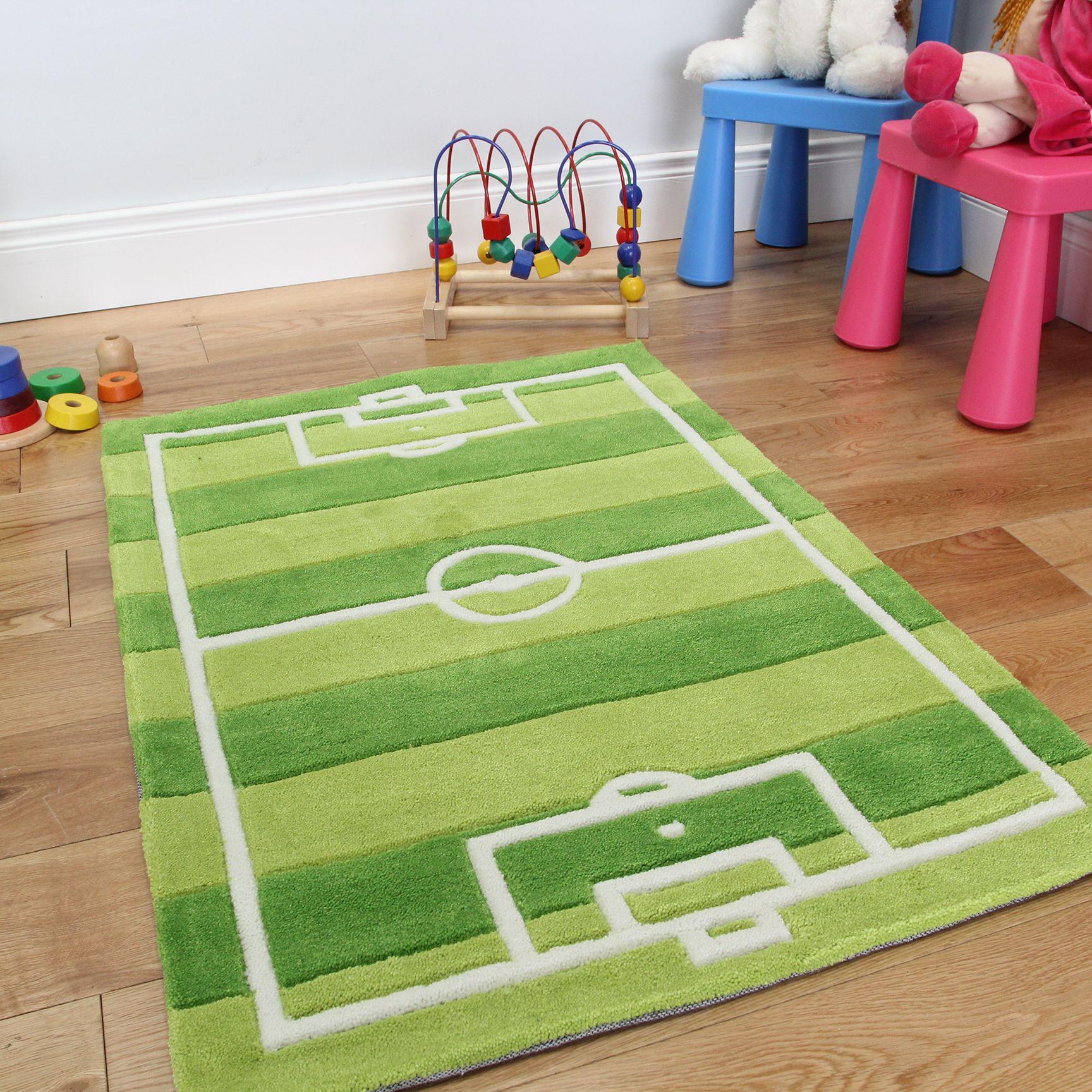 Cool Football Pitch Rug For Little Football Fanatics