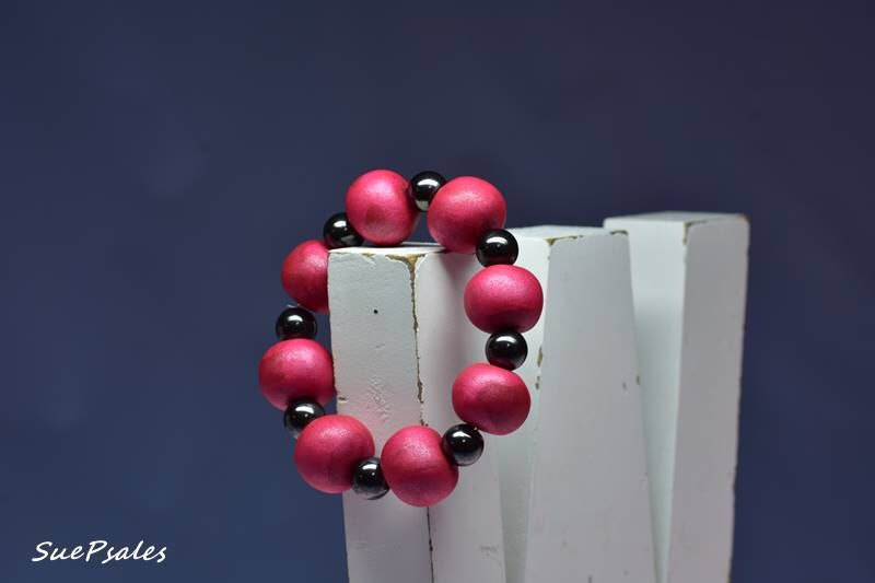 Beaded Bracelet, Magnetic Bracelet, Polymer Clay Bracelet, Deep Red, Burgandy, Made to fit you, choose a different color if you want by SuePsales on Etsy https://www.etsy.com/listing/485776059/beaded-bracelet-magnetic-bracelet