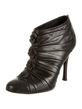 Chaussure CHANEL   Chanel Camelia Ankle Leather Black Boots ... 9a0d03a1cc0
