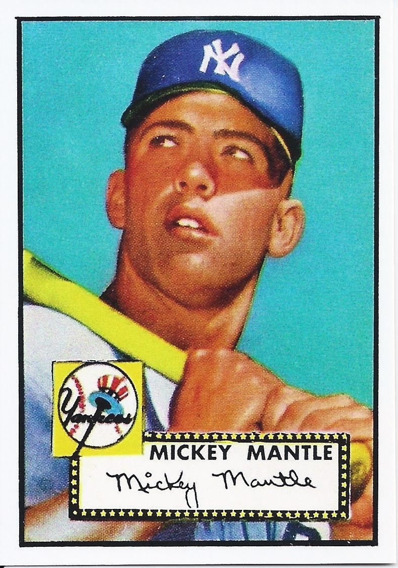 Mickey Mantle 1952 Topps Rookie Card Reproduction Mickey Mantle Was Brought Up From The Minors In 1951 And Spent Mickey Mantle Baseball Cards Yankees Baseball