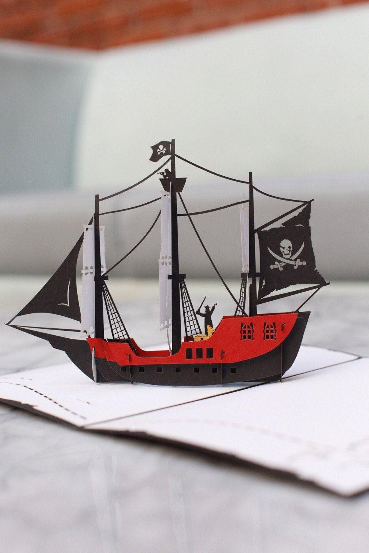 Jolly Roger Pirate Ship 3d Pop Up Card
