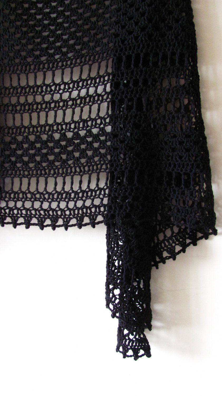 Crochet Black Lace Shawl - Crochet Cotton Shawl - Fashion ...