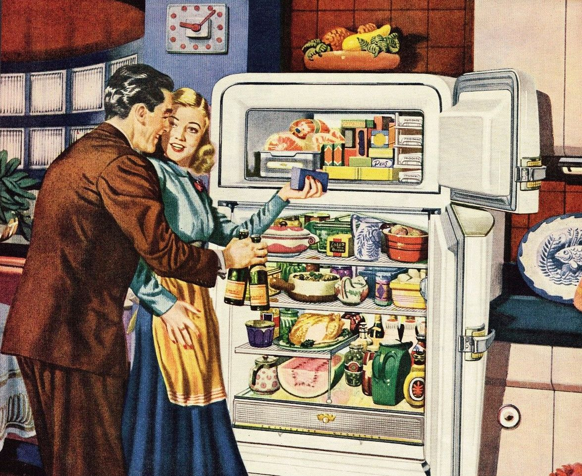Finally...the kids are asleep. Time for a romantic snack for two! ~ 1948 Frigidaire ad.
