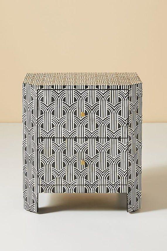Best Bone Inlay Nightstand Table Black Modern Luxury Pattern 400 x 300
