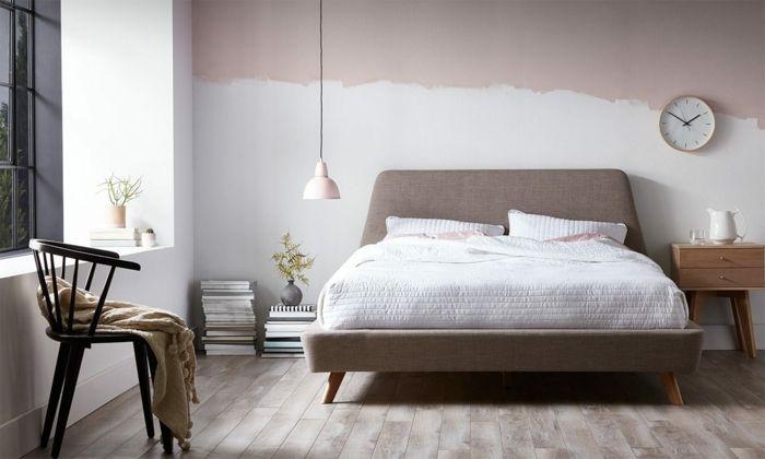 Wand in zwei Farben streichen, schwarzer Holzstuhl mit Armlehnen ...