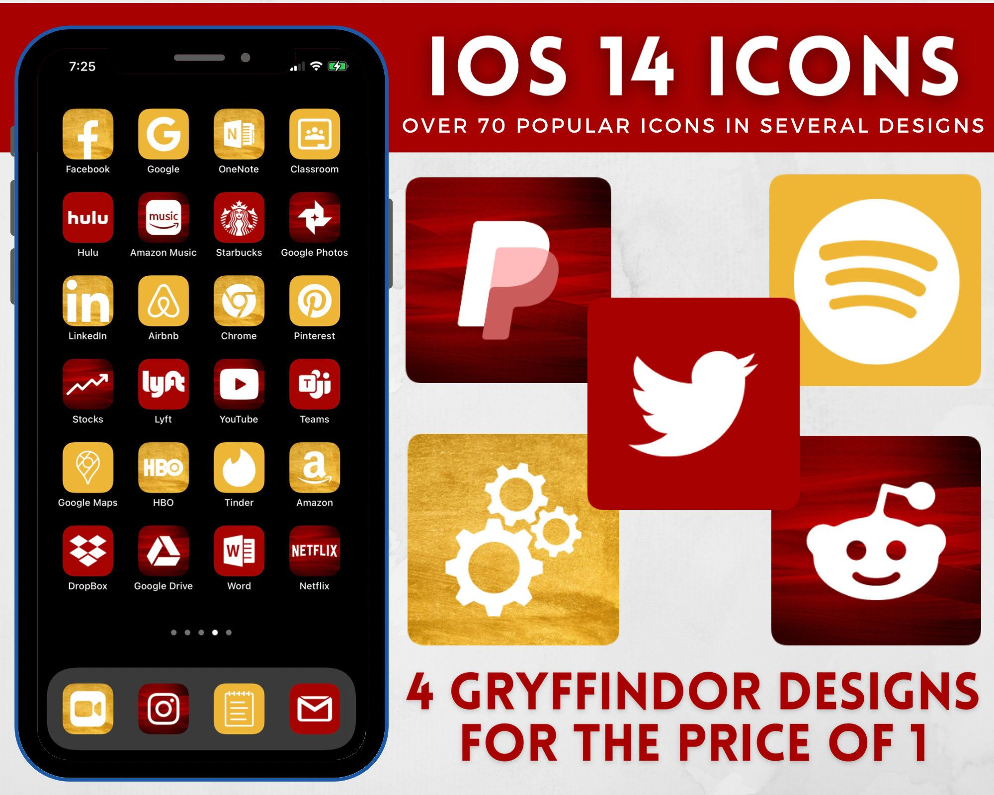 Iphone Ios 14 App Icons Harry Potter Gryffindor Aesthetic Etsy In 2021 Harry Potter App App Icon Harry Potter Phone
