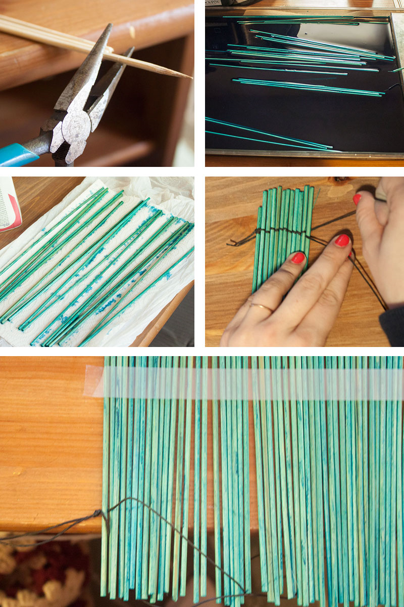 How to make dining table mats at home - Dye Barbecue Skewers And Weave Together For One Of A Kind Placemats