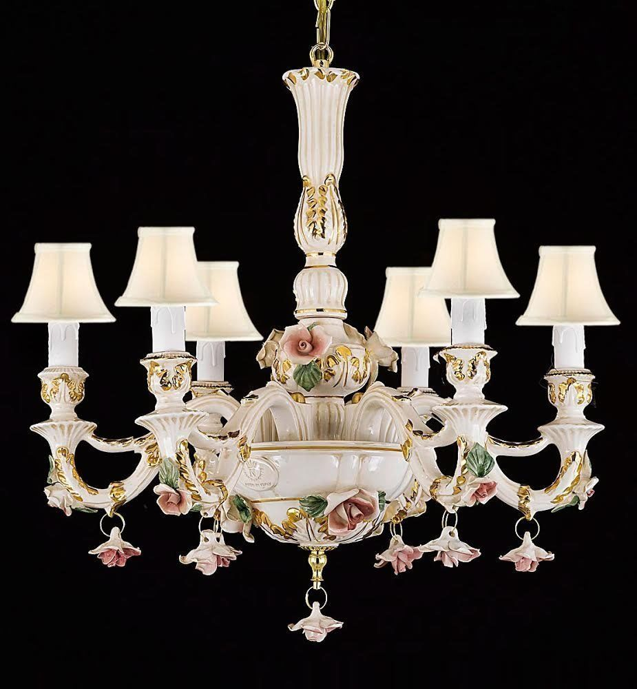 Authentic Capodimonte Porcelain Chandelier Lighting Made In Italy W White Shade Gallery