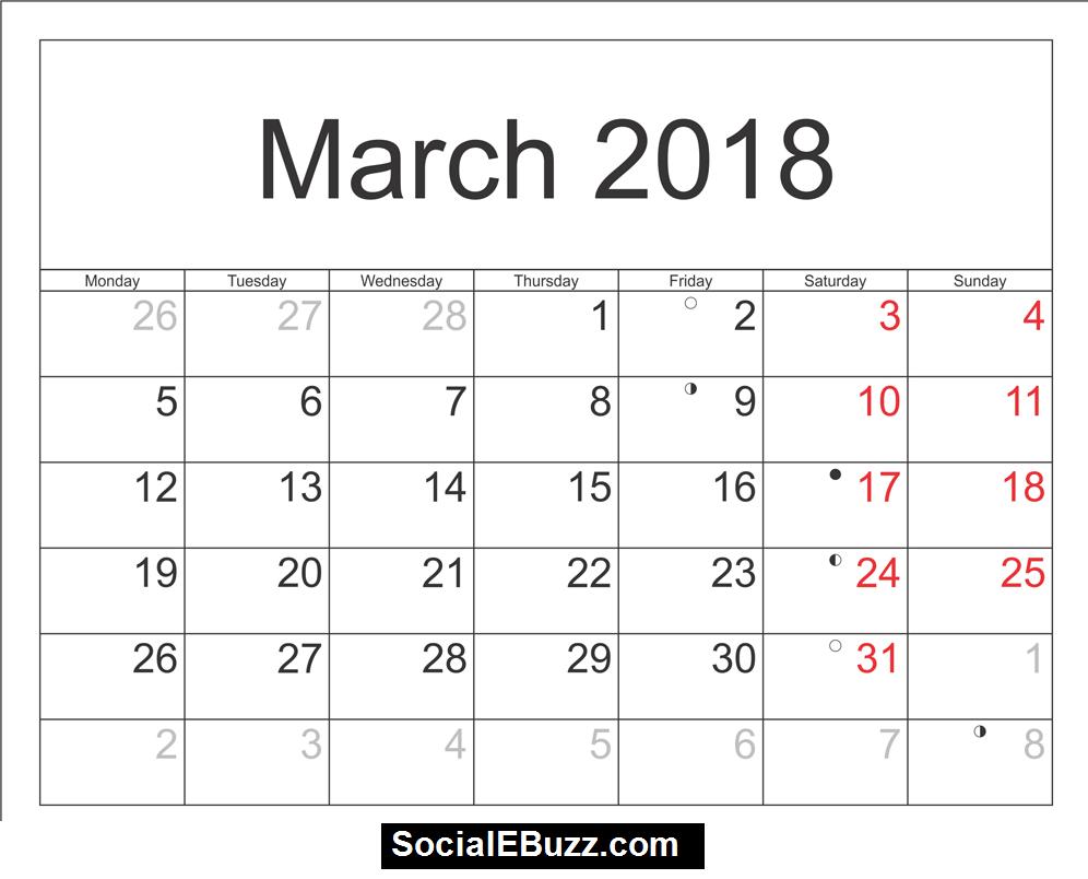 March  Calendar Pdf HttpSocialebuzzComMarchCalendar