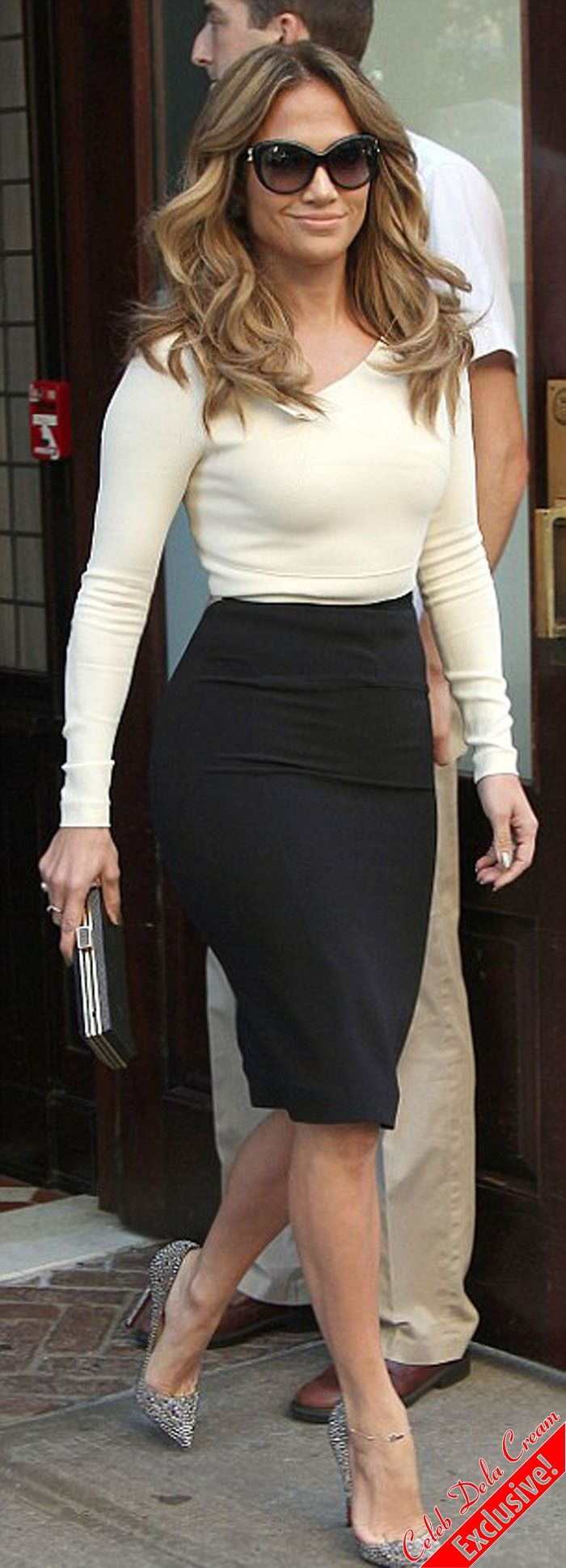 Pencil Skirt and long sleeve blouse