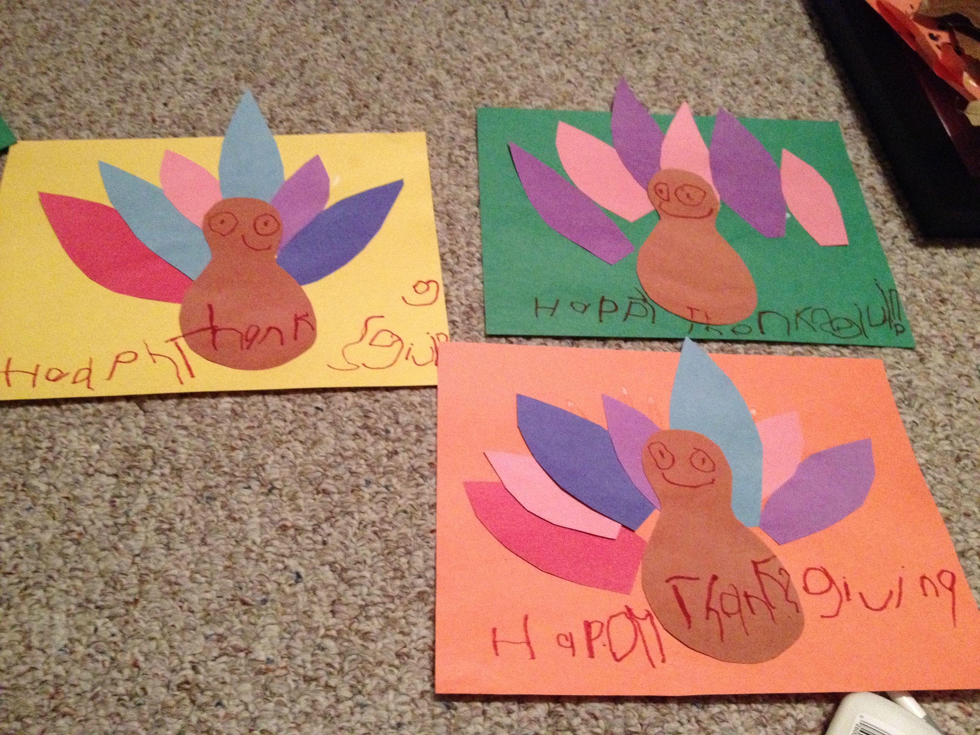 Thanksgiving Turkey Placemats Construction paper, scissors, glue, markers & laminator