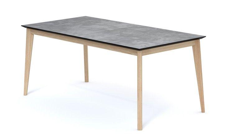 table rallonge effet beton pieds bois vintage fermee svartan mobiliermoss