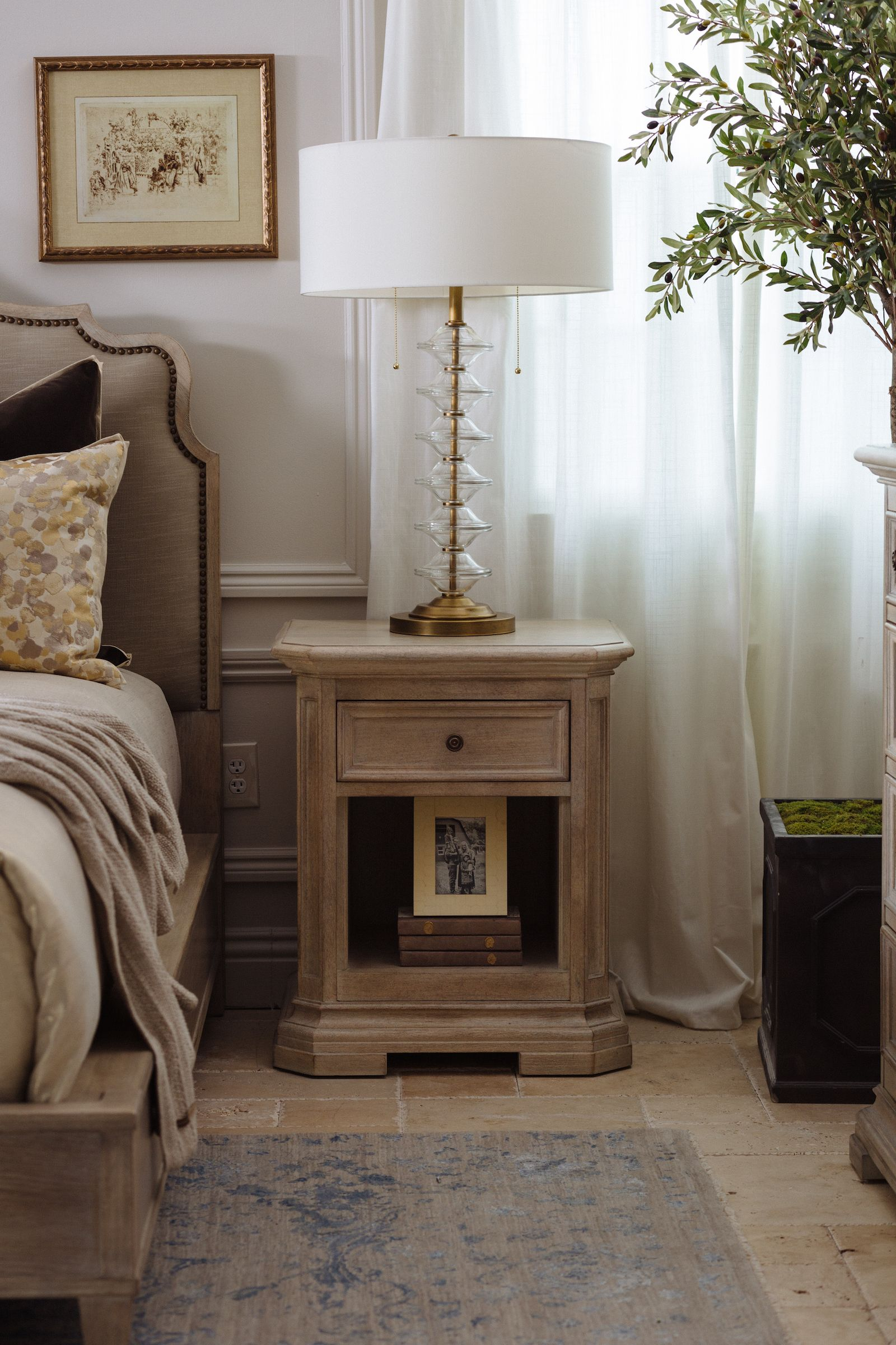 One drawer transitional nightstand in light brown