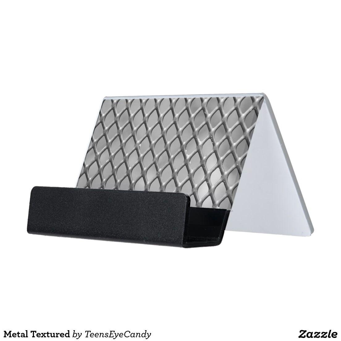 metal textured desk business card holder  zazzle