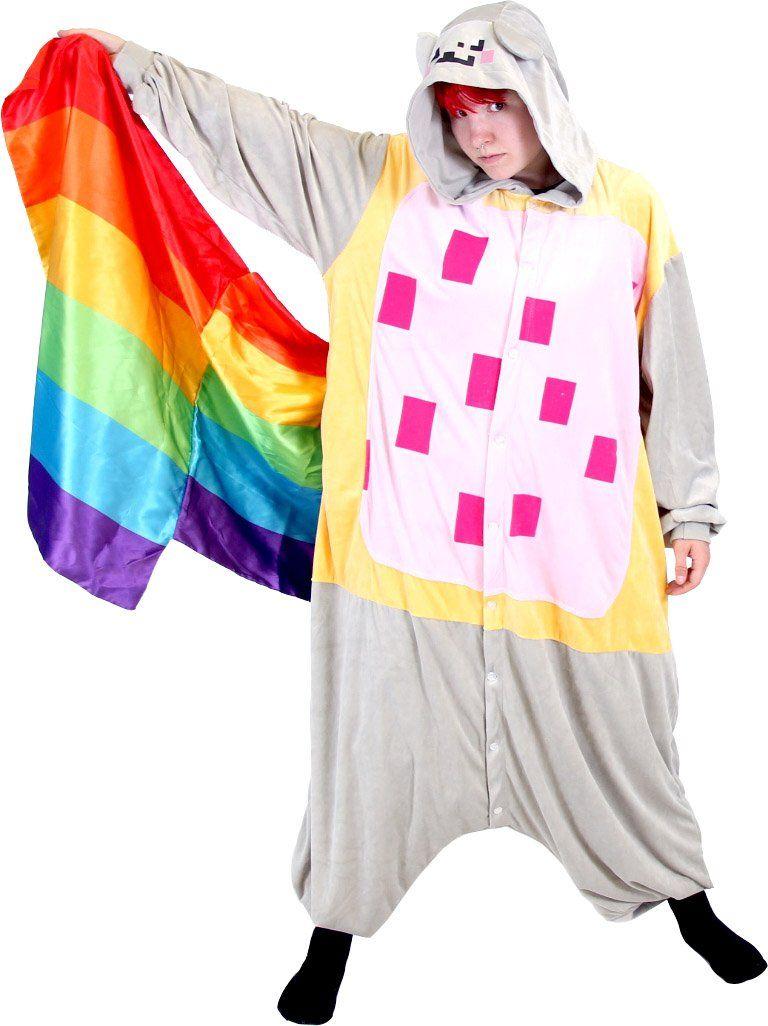 Meme Space Nyan Cat Rainbow Tail Costume Hooded Kigurumi One Piece Pajama   40 34c492e04