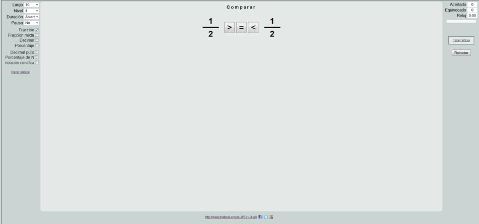 De la colección de ejericicios que presentan nos centramos esta vez en fracciones-comparar.