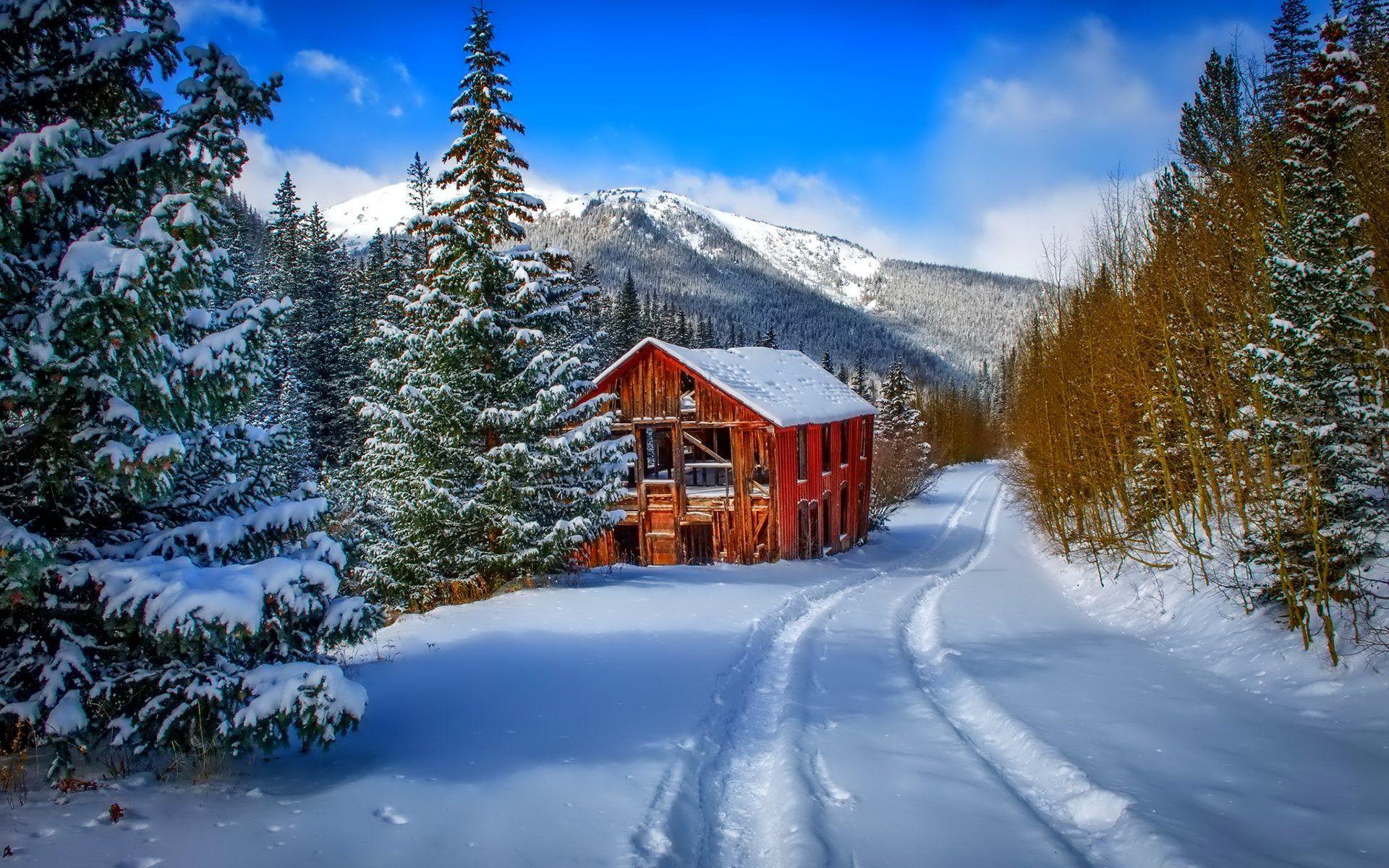 Pin By Prasadjohn On Zima Winter Winter Cabin Free Winter Wallpaper Cabin