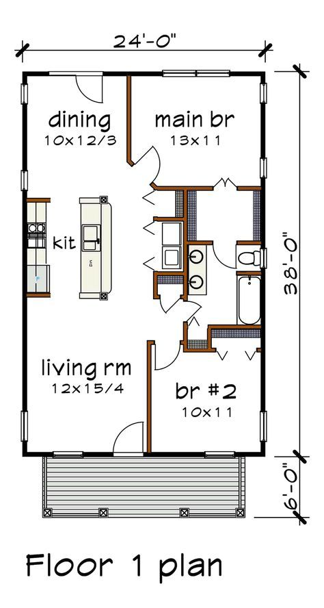 Bungalow Style House Plan 75517 With 2 Bed 1 Bath Small House Layout Bungalow Style House Plans House Floor Plans