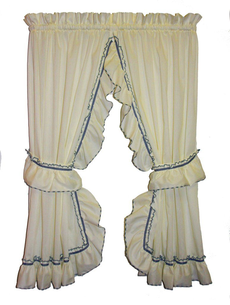 Ivory Jessica Sheer Ruffled Priscilla Curtain Set Of Two Light
