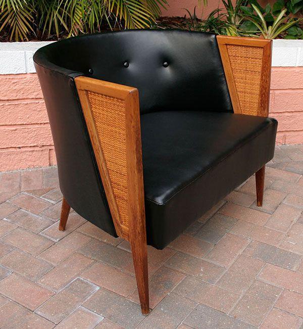 Black Leather Danish Style Vintage Barrel Chair