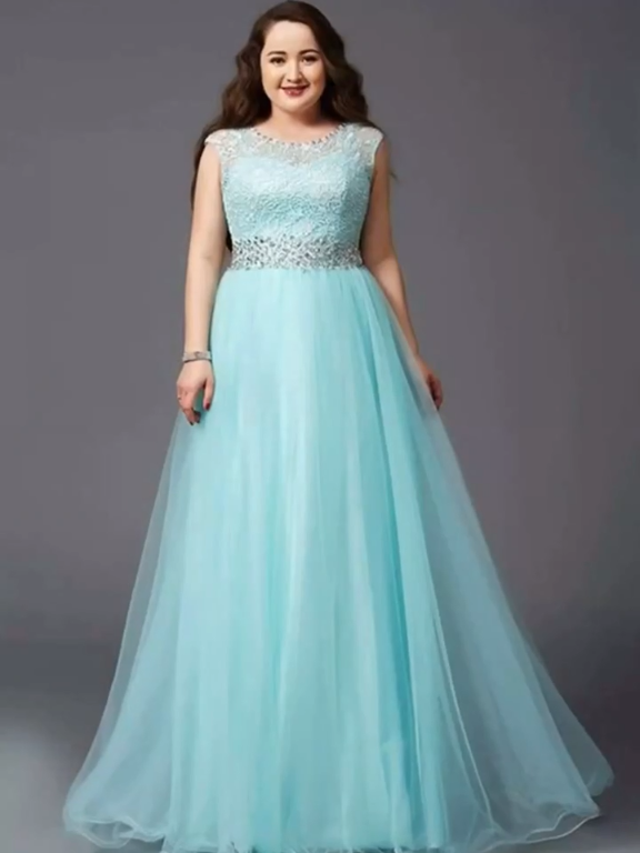 Photo of Stunning Round Neck Sleeveless A Line Tulle Plus Size With B…