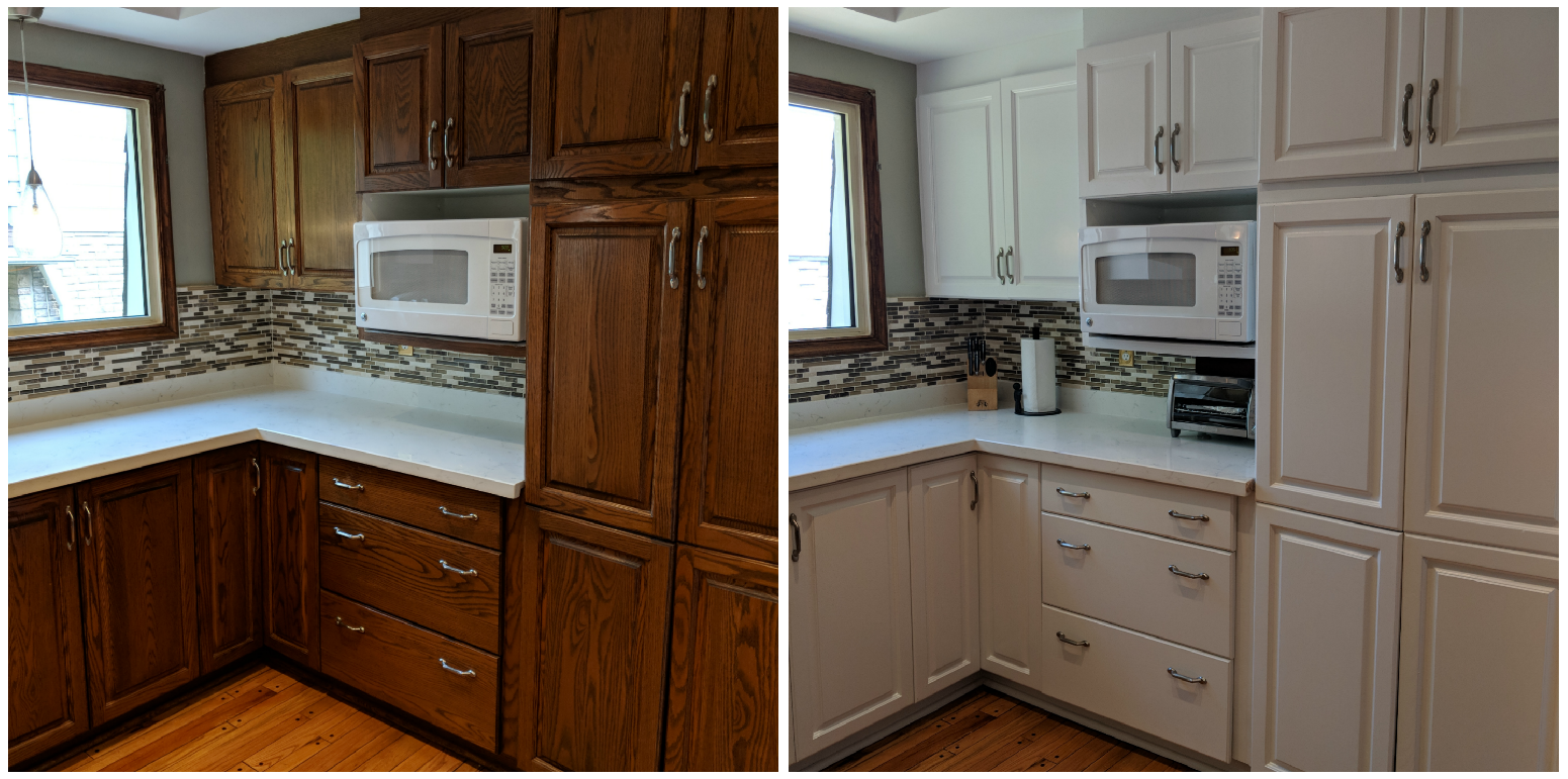 Markham Ontario Kitchen Cabinet Painting Project Before And After Want To Make Your Kitchen Look New Agai Kitchen Cabinets Painting Kitchen Cabinets Cabinet