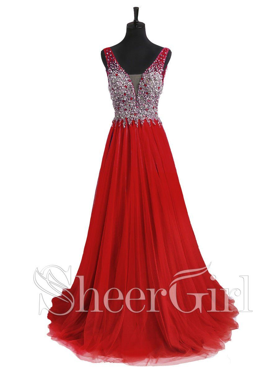 Alineprincess vneck beaded bodice red prom dresses apd