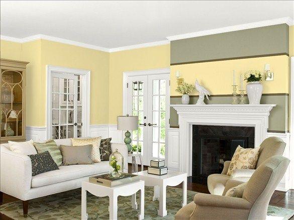 Warm & Cozy Living Room! Wall Color: Banana Cream - Trim ...