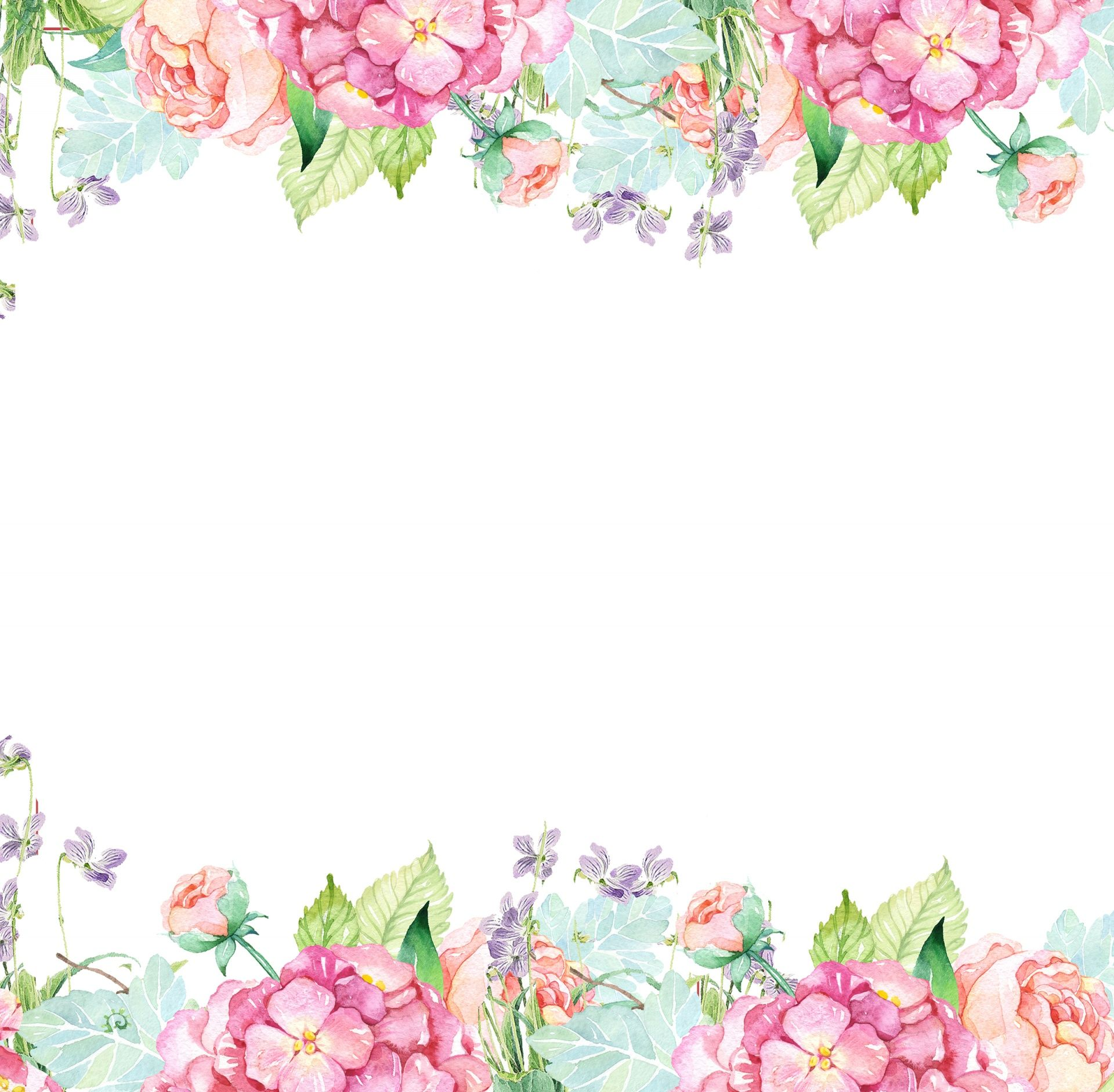 Floral Watercolor Flowers Border Free Stock Photo Free