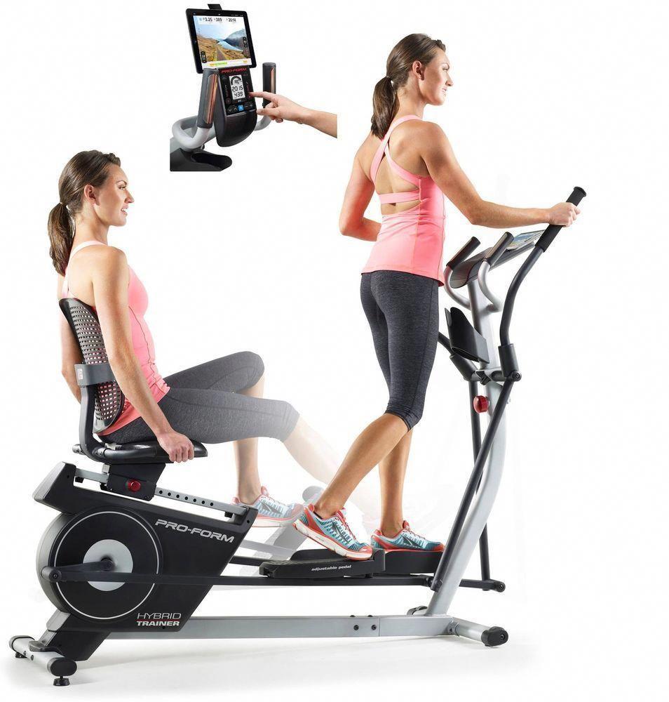 2 In 1 Elliptical Recumbent Bike Machine Lcd Screen Exercise