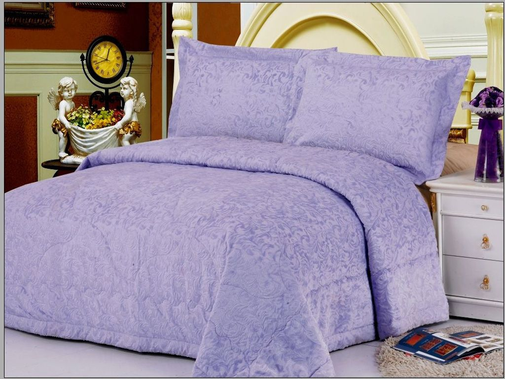 Purple Bedspreads And Comforters | Odessa Purple Velour Bedspread Quilt