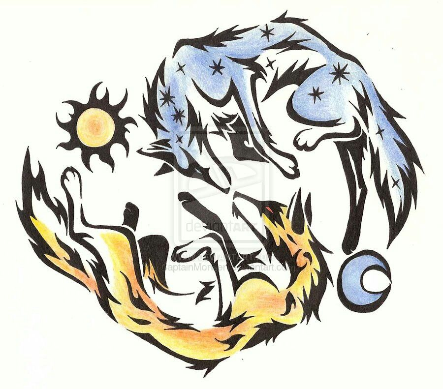Wolf tattoo Moon tattoo, Watercolor moon, Watercolor wolf