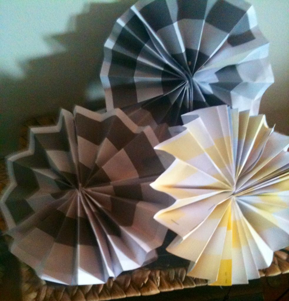 Paper pin wheels decorations made with a printed design at