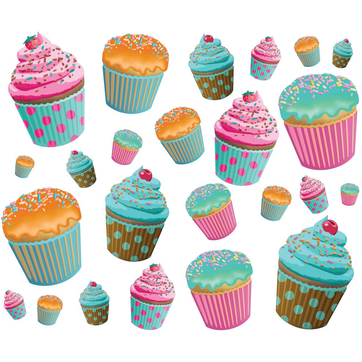 Cupcake Wall Decals Medium Sheet