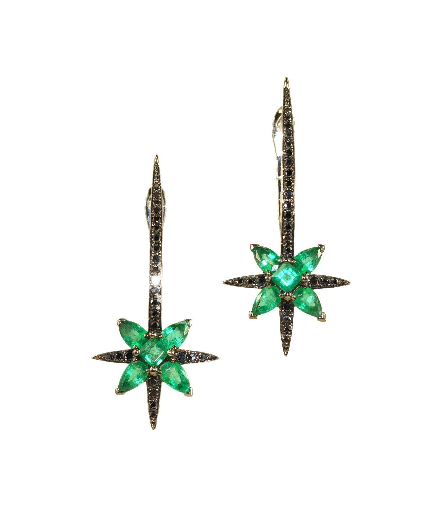 Emerald star earrings