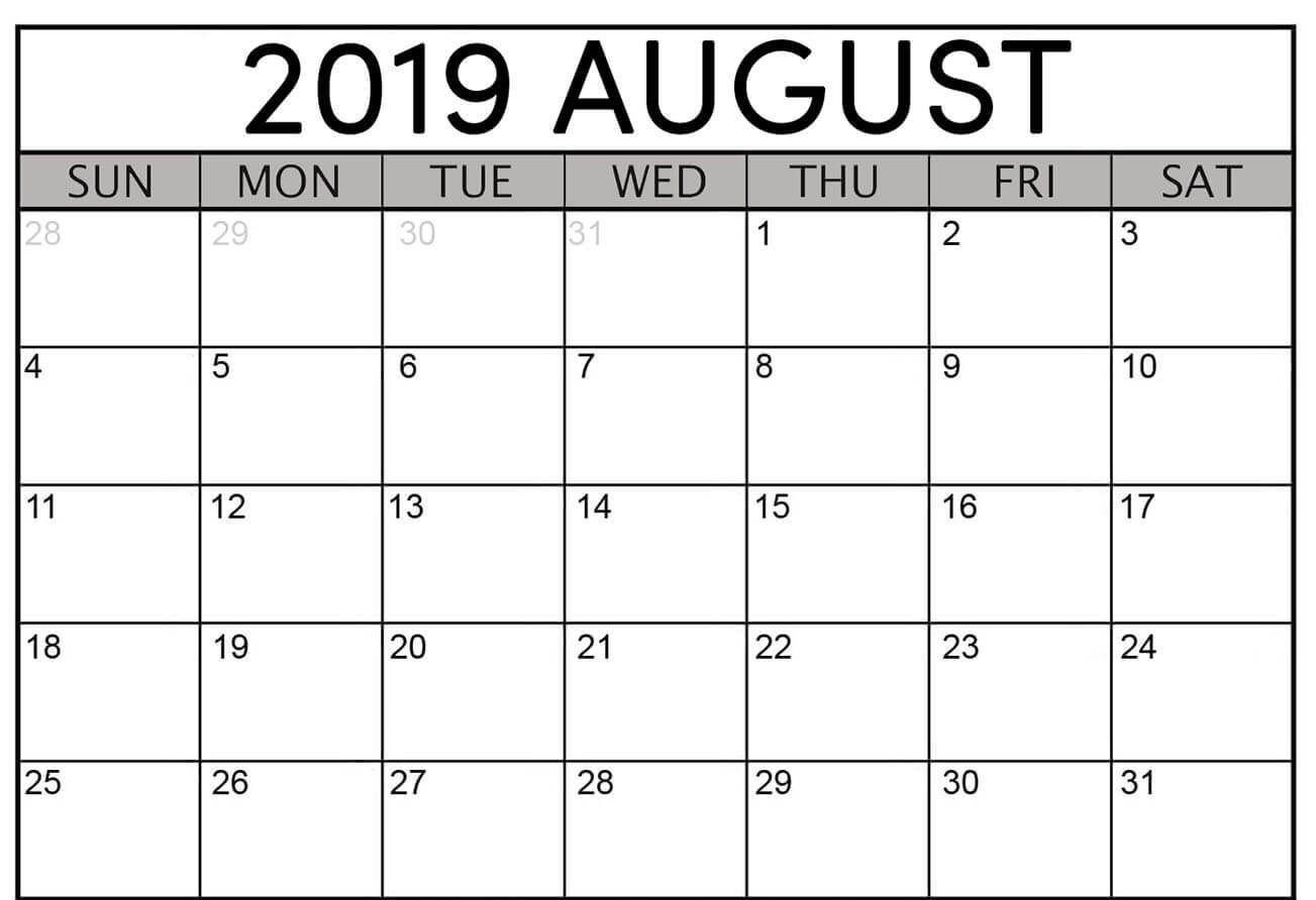 August 2019 Calendar Excel With Blank Printable Template
