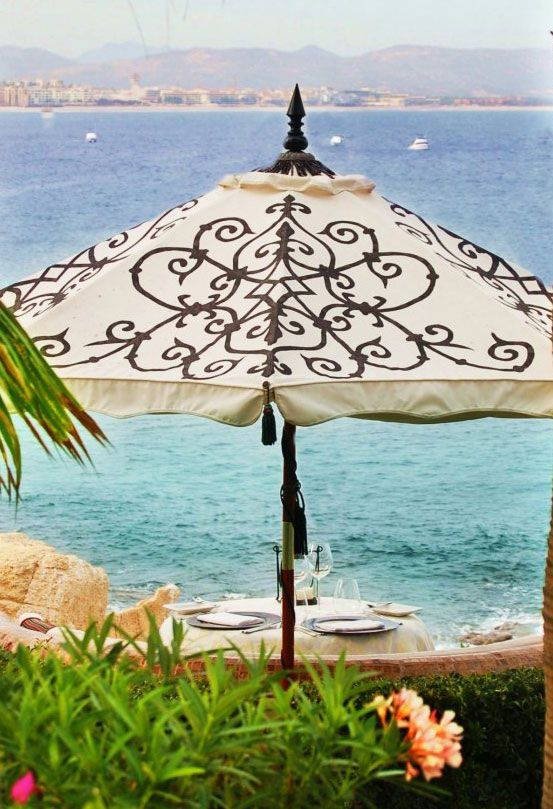 Hand Print Pattern Painted Patio Umbrella From Hedgerow Studios