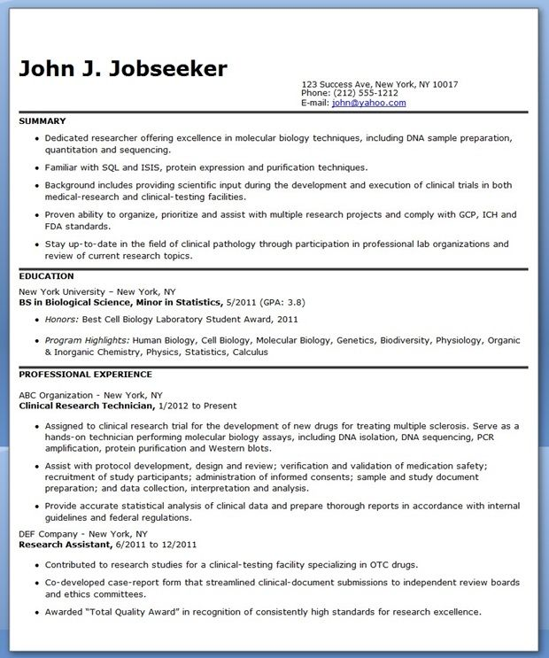 Resume for Research Lab Technician (Entry Level) Creative Resume - research scientist resume