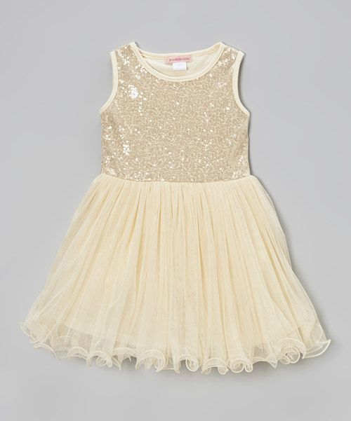 f9e3fcc6f115 Look at this  zulilyfind! Paulinie Ivory Sequin Lettuce-Edge Dress ...