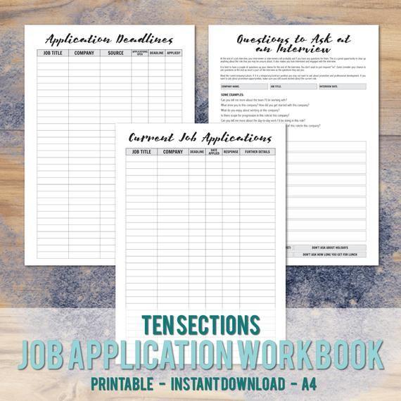 Printable A4 Job Application Workbook