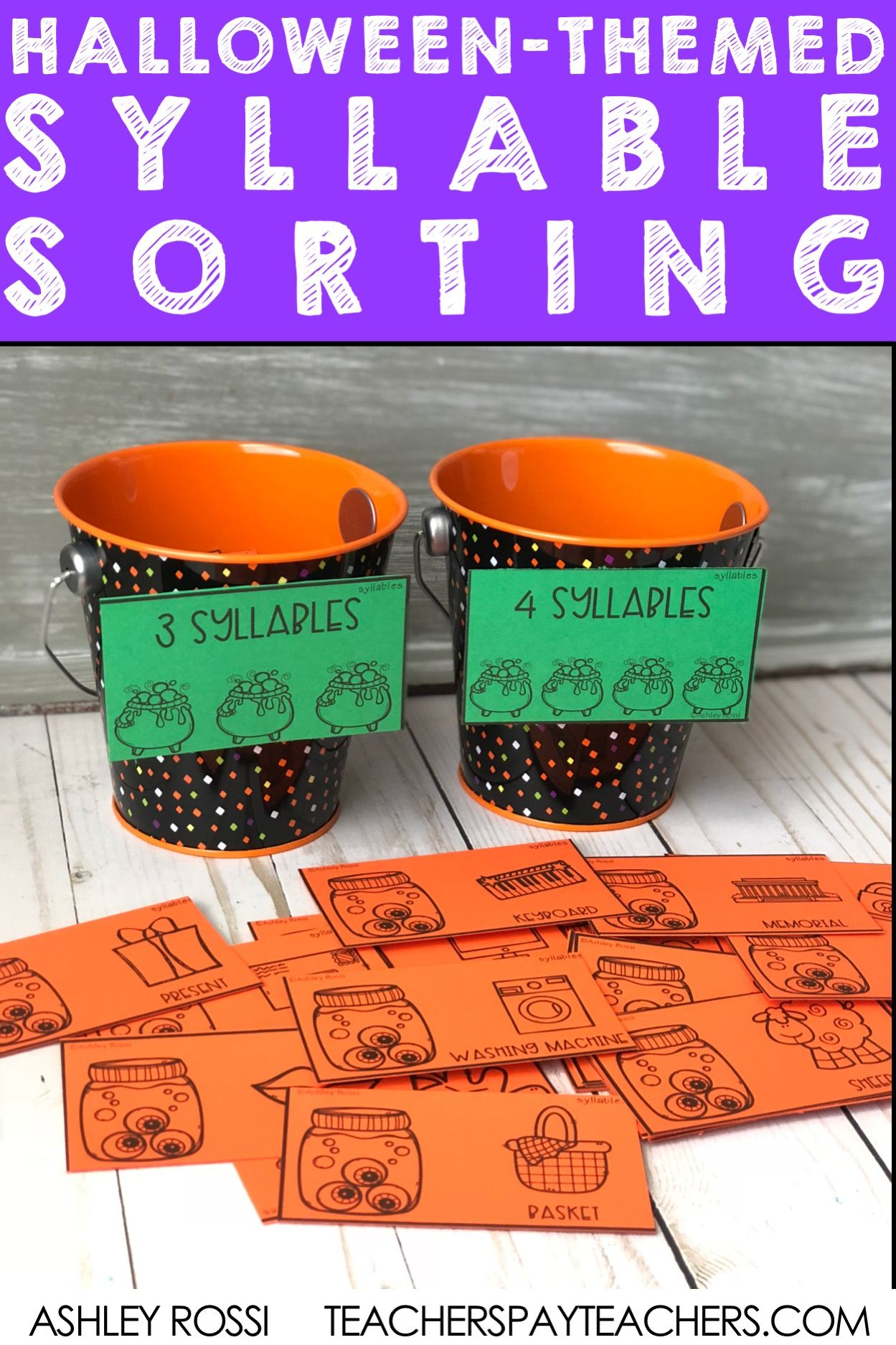 Syllables Sorting Activity For Halloween