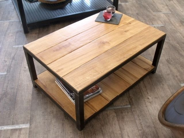 table basse industrielle bois et métal | tables, salons and