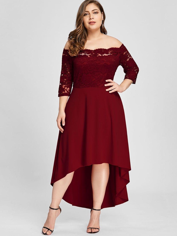 ca7c0d607b99 Plus Size High Low Lace Off Shoulder Dress - WINE RED XL