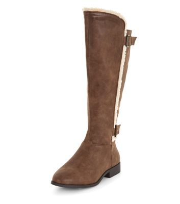 Wide Fit Tan Shearling Trim Knee High Boots