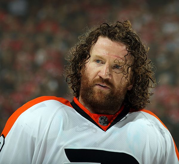 Scott Hartnell of the Philadelphia Flyers looks on against the New Jersey  Devils in Game Three of the Eastern Conference Semifinals during the 2012  NHL ... c8031be3d