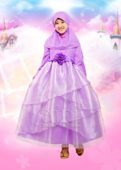 Gaun Muslim Pesta Anak Perempuan Gamis Pesta Mewah Rok Mekar Organdi