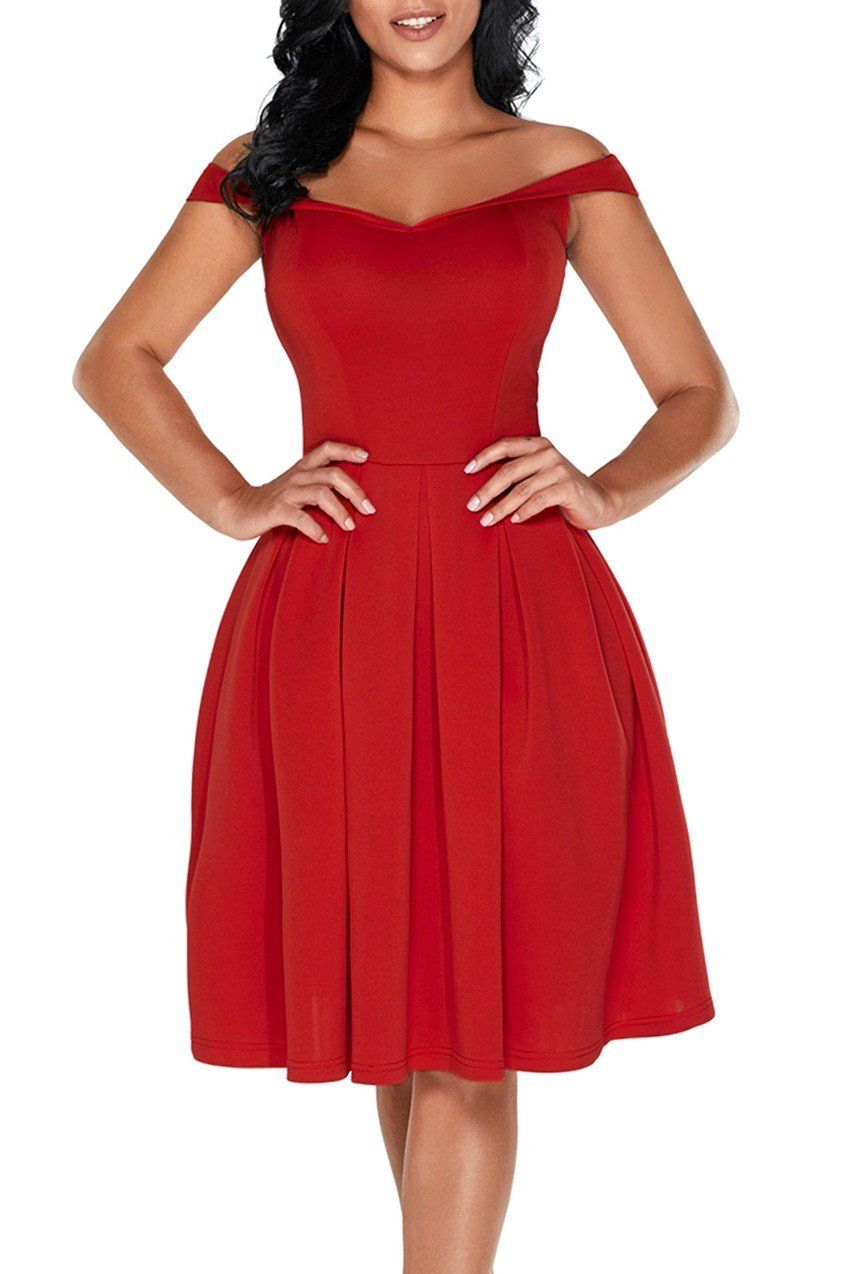 Red foldover off shoulder sweet homecoming dress homecoming
